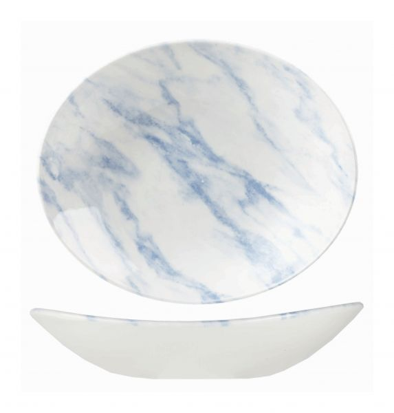 Platte tief oval coup 25x21cm TEXTURED PRINTS blue marble
