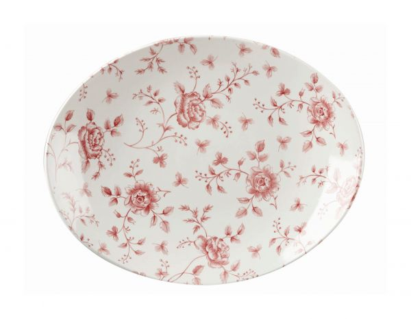 Platte oval coup 32x26cm VINTAGE PRINTS cranberry rose chintz