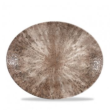 Teller flach oval coup 31,7cm STONECAST zircon brown